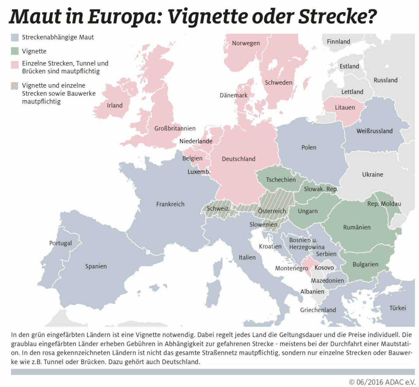 Mautländer in Europa