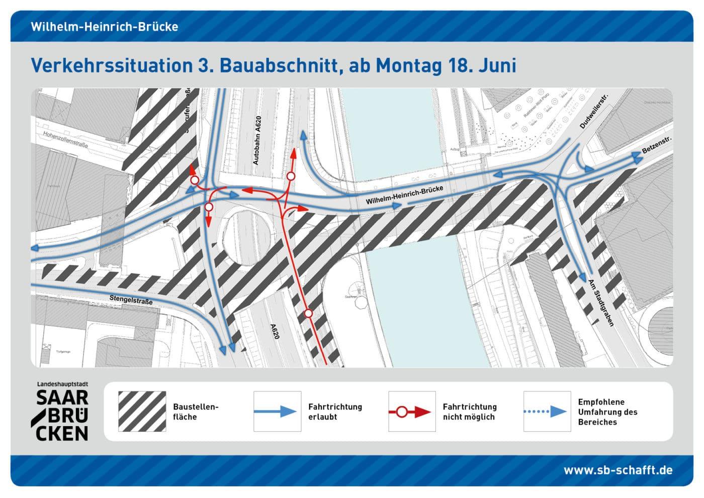 2 Wochen Sperrung der Autobahnabfahrt Wilhelm-Heinrich-Brücke