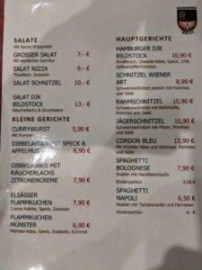 Speisekarte DJK Bildstock Vereinsheim