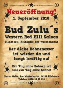 Bud Zulu öffnet wieder