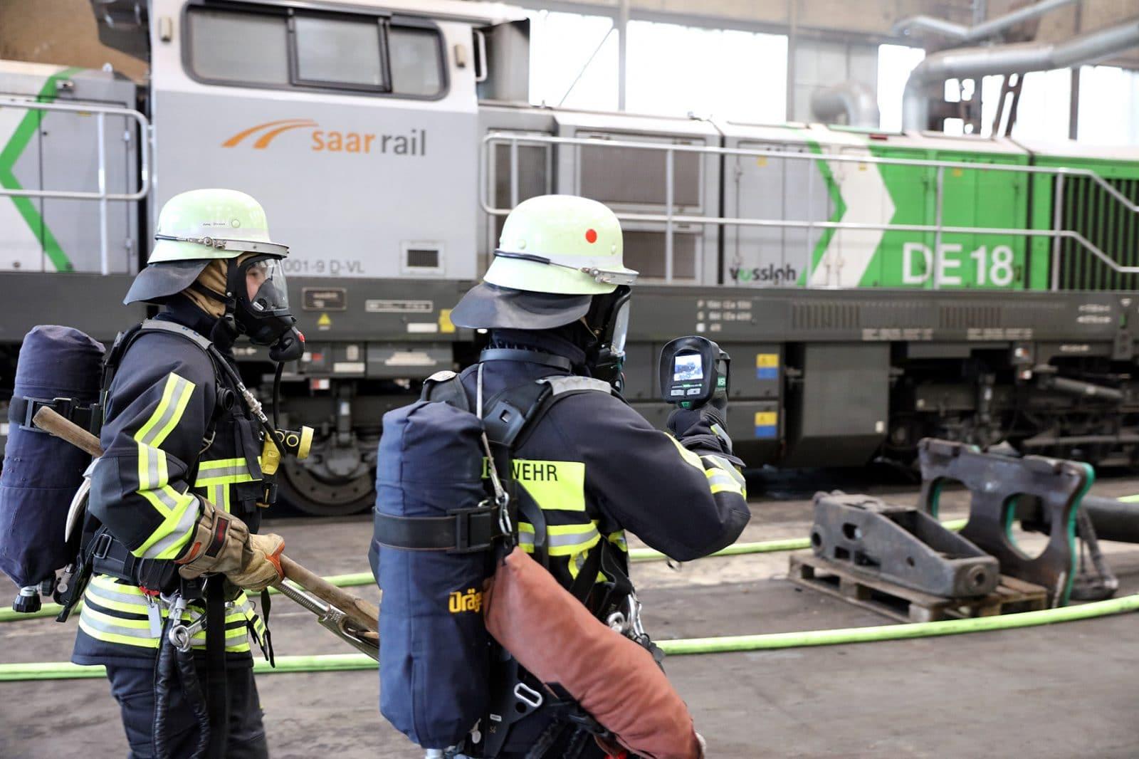 Werksfeuerwehr von Saarstahl probte den Ernstfall
