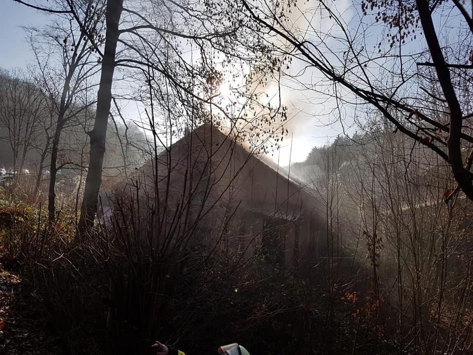 Der Dachstuhlbrand an der Blaufabrik: bild   FB Feuerwehr Sulzbach