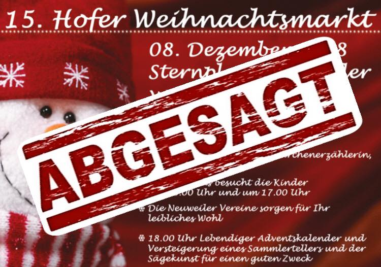 15. Hofer Weihnachtsmarkt abgesagt