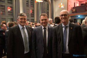 Bürgermeister Lutz Maurer (Quierschied), Michael Adam (Sulzbach) und Reiner Pirrung (Elversberg)