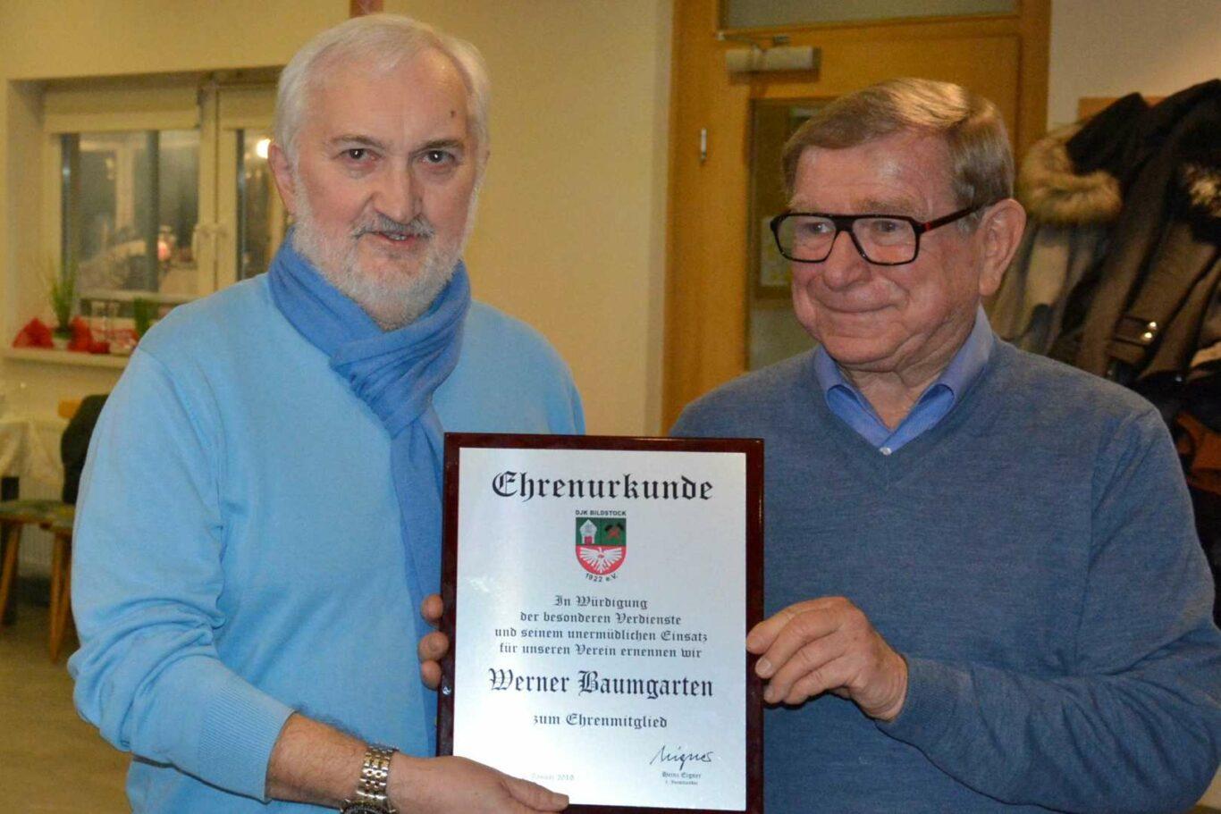 Werner Baumgarten (links) und Vorstand Heinz Eigner | Bild: DJK Bildstock Abt. Tischtennis