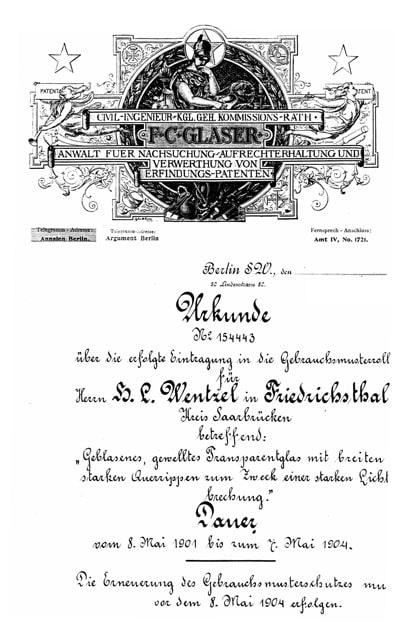 Patent Wentzelche Glashütte