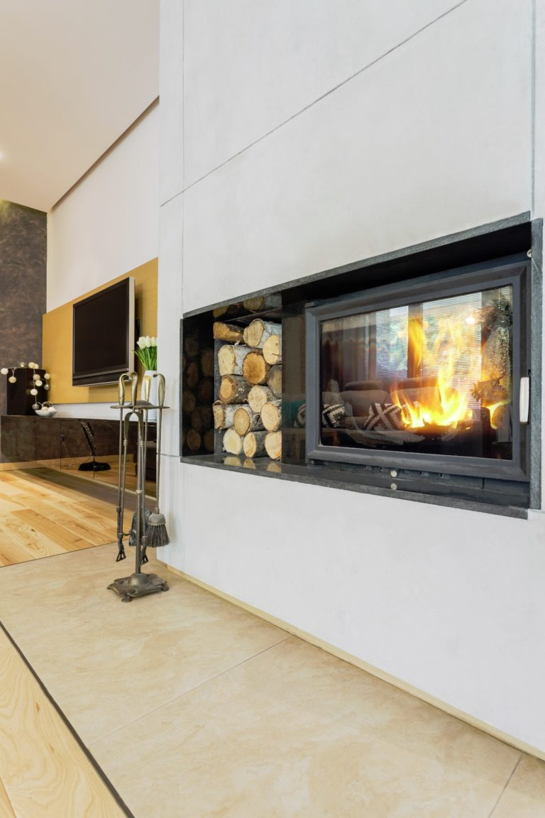 CO2 is also generated in modern fireplaces