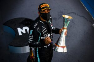 Great Prize of Spain 2020, Hamilton with trophy | Image: LAT Images