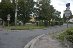 Entrance into the Birkenweg to the daycare center and elementary school