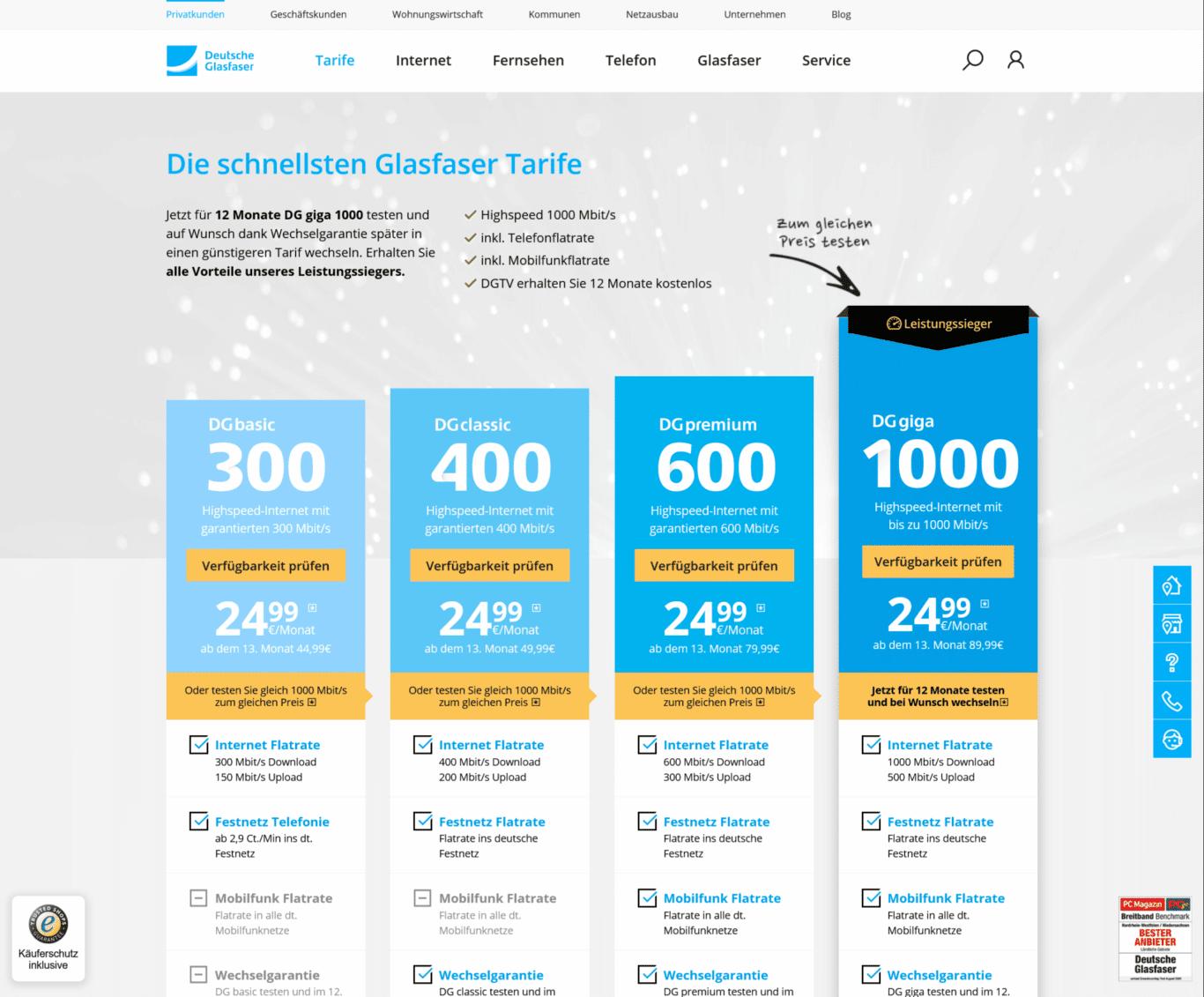 Das Angebot von Inexio Deutsche Glasfaser auf ihrer Website