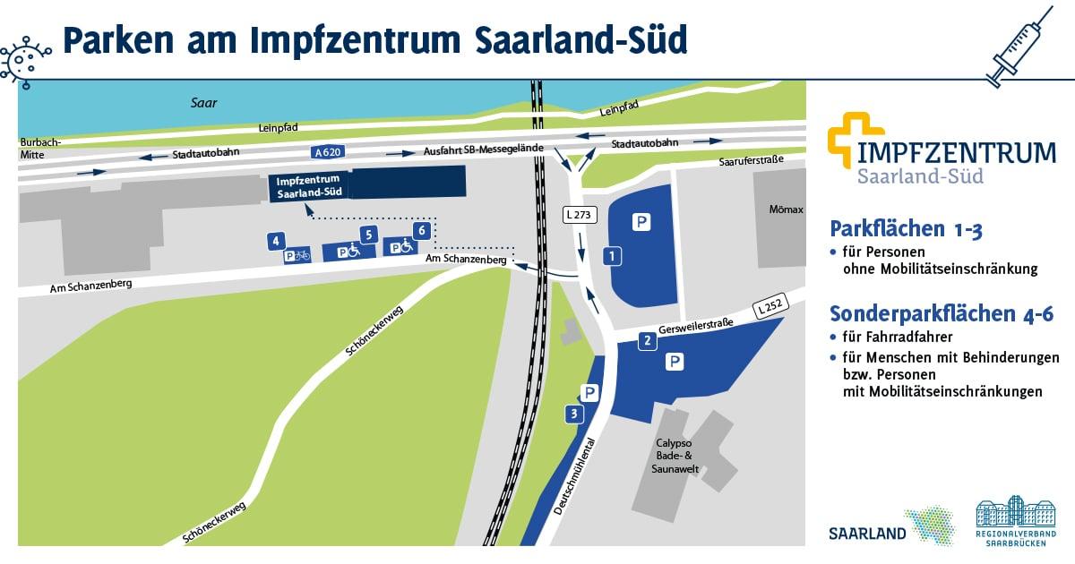 Parkplatzkarte Impfzentrum Saarbrücken