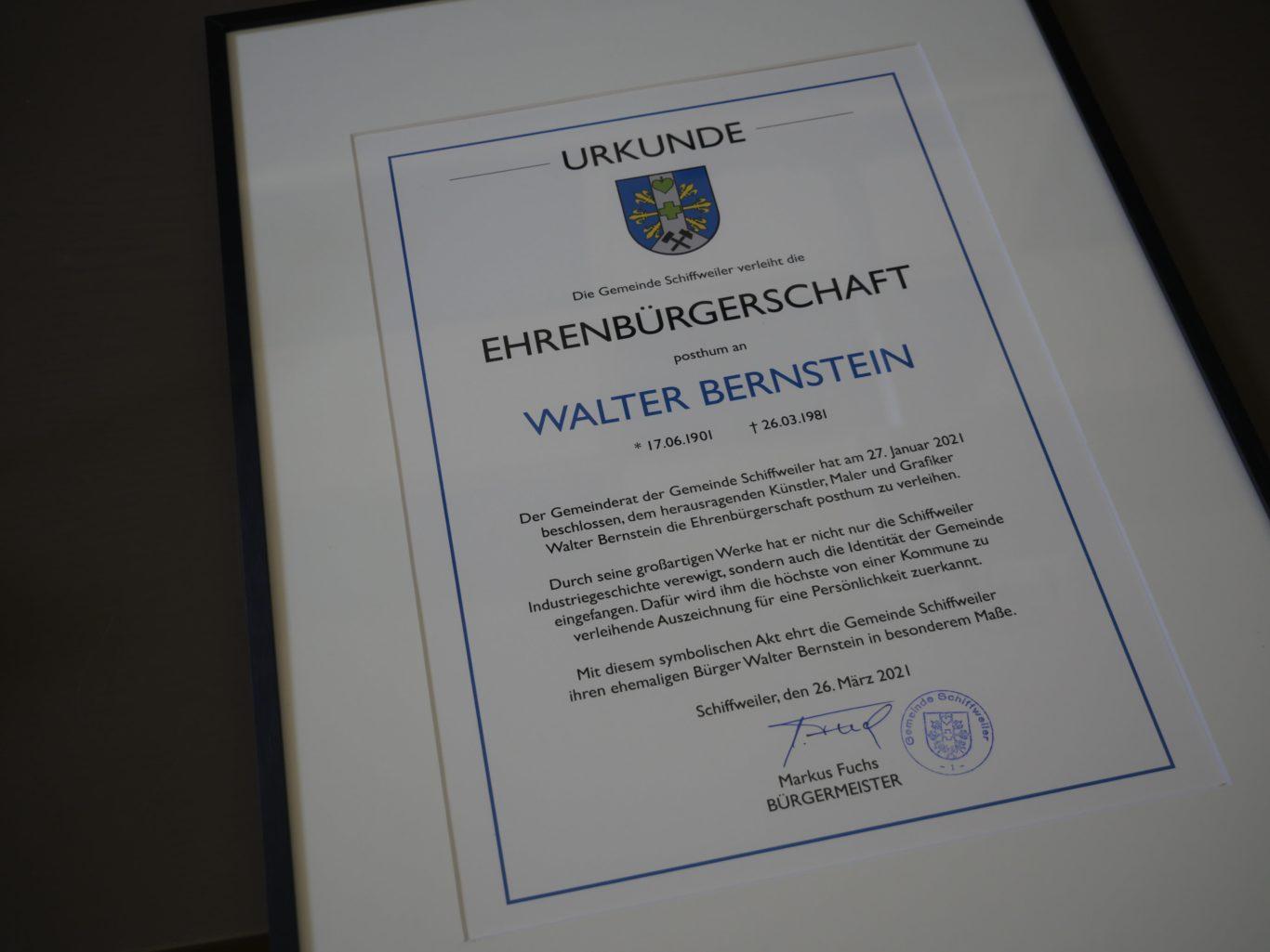 Walter Bernstein Urkunde