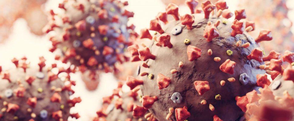 Células de coronavirus en vista microscópica. Virus de Wuhan causando pandemia en todo el mundo. Render 3D