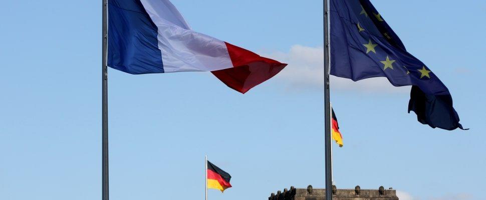 Fahnen von Deutschland, Frankreich und der EU, über dts