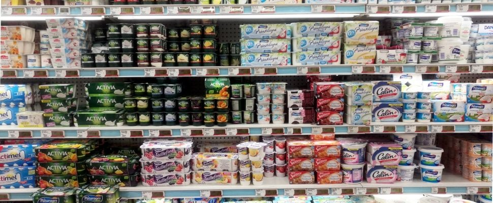 Yogurt in the supermarket, about dts