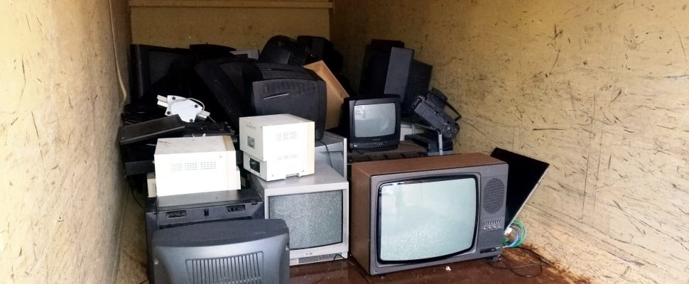 Broken television in a container, about dts