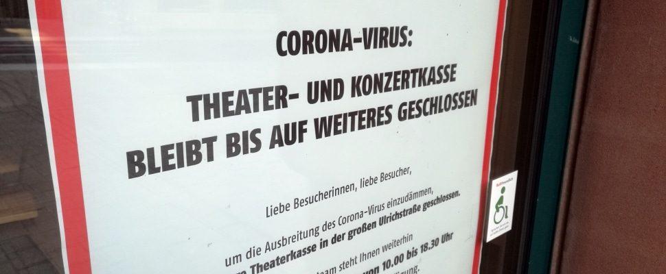 Wegen Corona geschlossene Theaterkasse, über dts