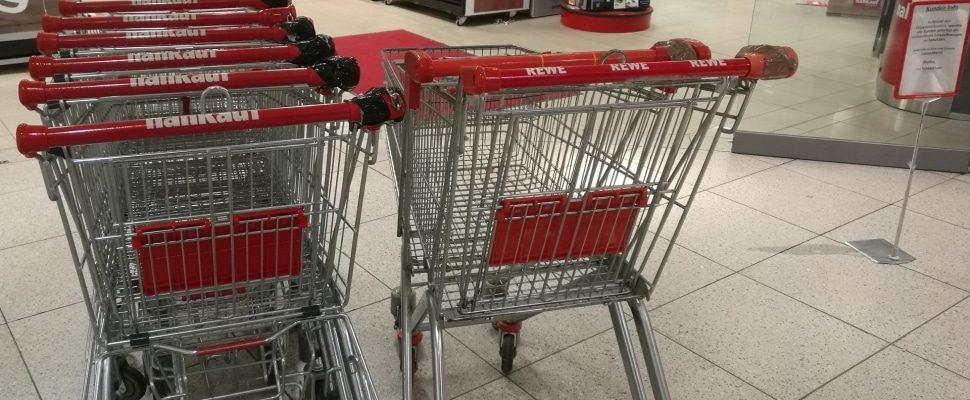 Einkaufswagen vor einem Supermarkt, über dts