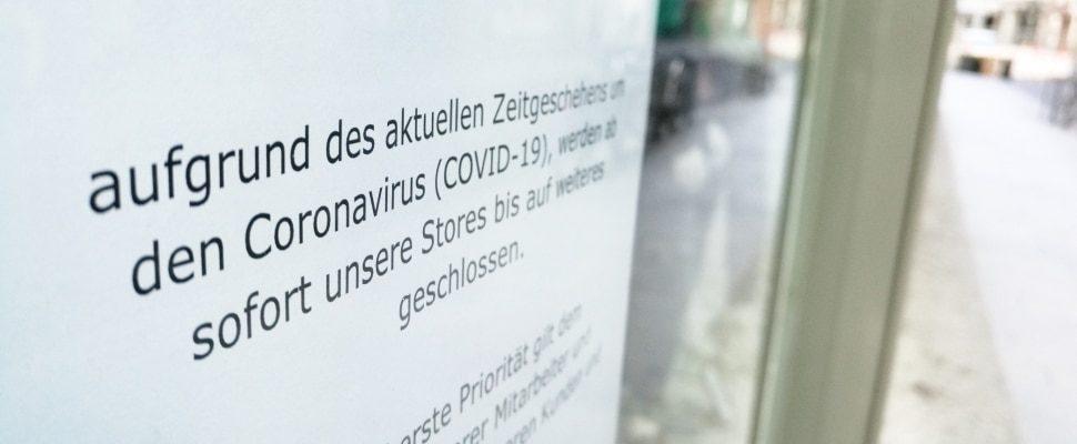 Wegen Coronakrise geschlossener Laden, über dts