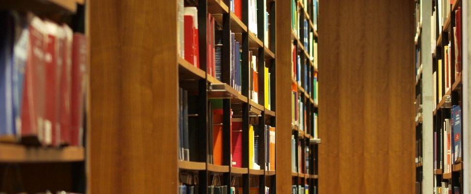Bücher in einer Bibliothek, über dts