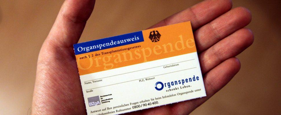 Organ donation card, via dts